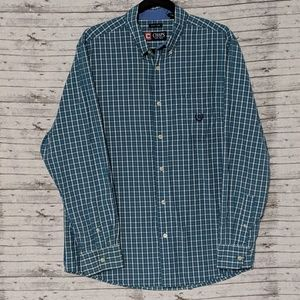Chaps Easy Care button-up  Mens SZ:L turquoise
